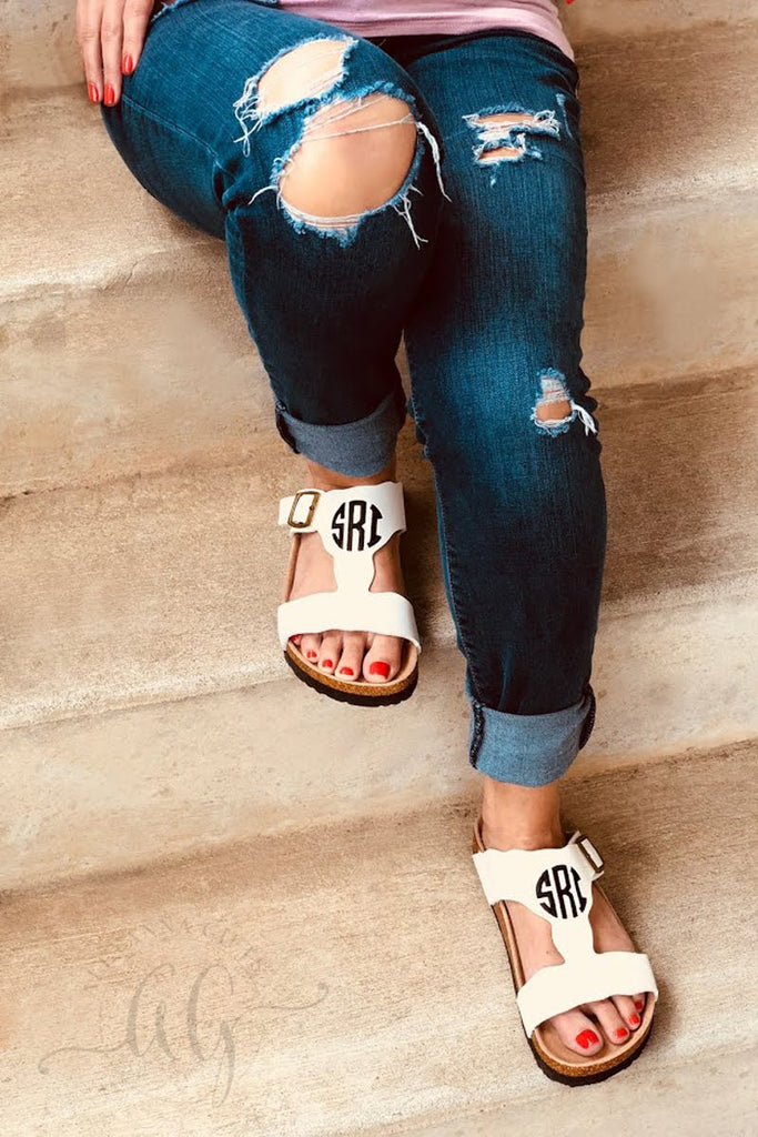 Monogram Leather Adjustable Sandals