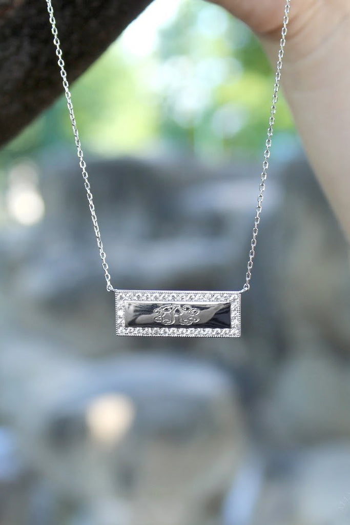 Sterling Silver Bar Engravable CZ Necklace - Allyanna Gifts