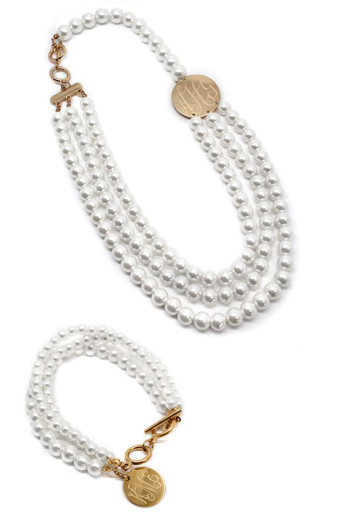 Classic Layered Pearl Engraved Necklace and Bracelet Set (Silver & Gold) - Allyanna Gifts