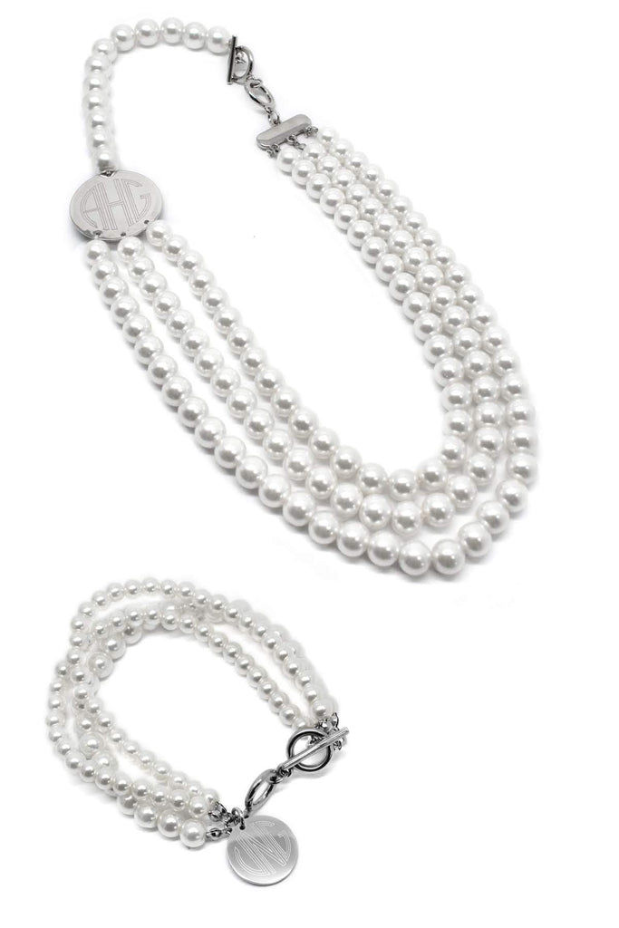 Classic Layered Pearl Engraved Necklace and Bracelet Set (Silver & Gold)