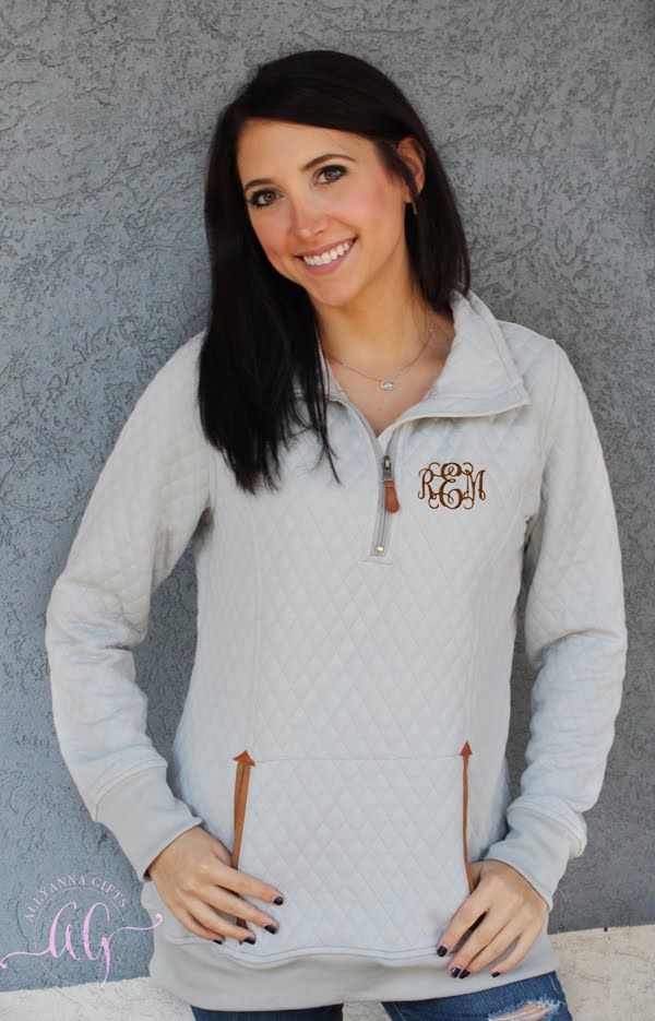 Monogrammed Thick Quilted Pullover