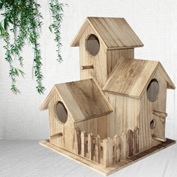 New wooden outdoor bird house breeding box tiger skin peony parrot bird nest wooden house nest cage toy bird bed