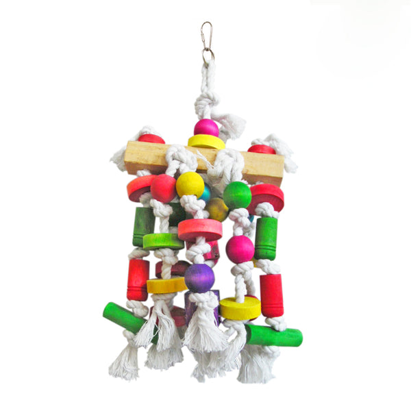 Pet Bird Cages Chewing Playing Toys Small Big Parrot Cockatiel Parakeet Colorful Wooden Blocks Swing Food Grade Toys