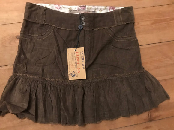 Fat Face size 8 skirt cord brown NEW