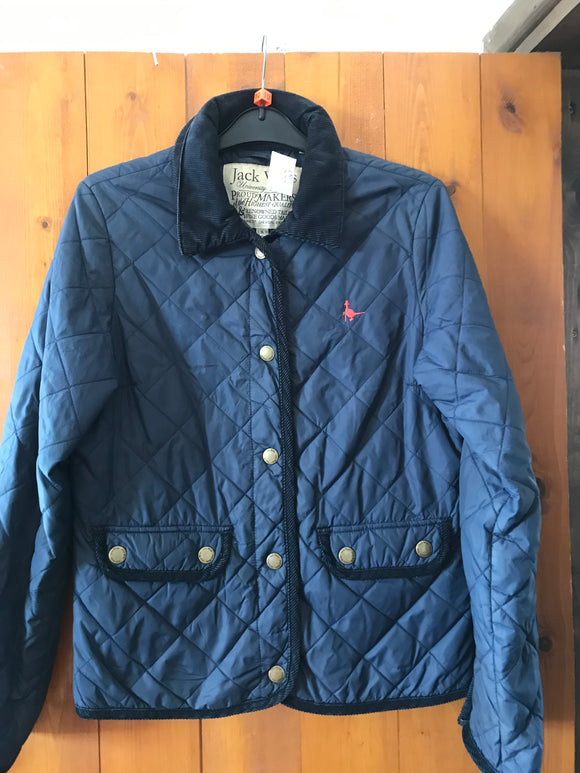 Jack Wills size 10 coat quilted jacket navy blue