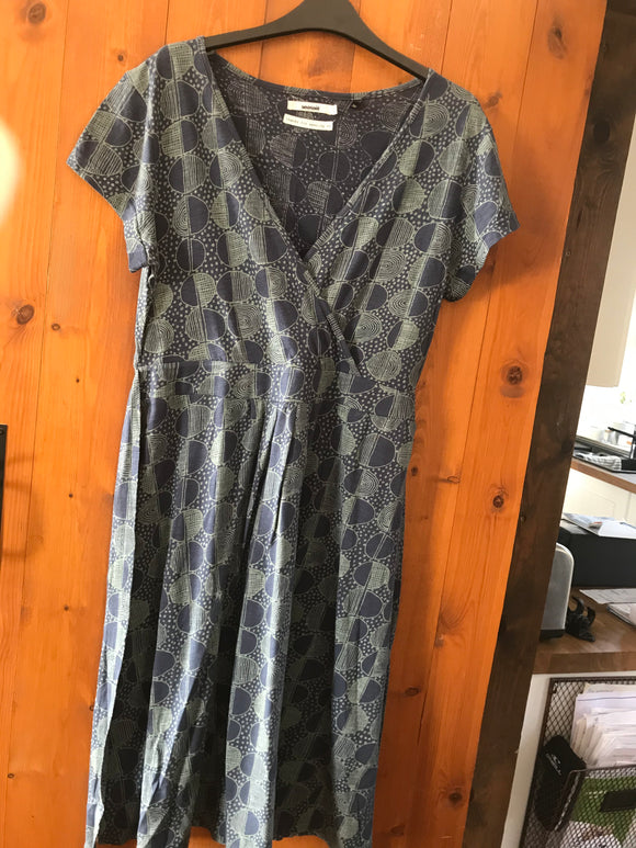 Seasalt size 12 tunic dress short sleeve blue green print
