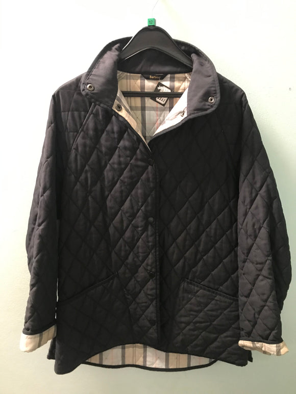 Barbour size 12 coat jacket navy quilted style