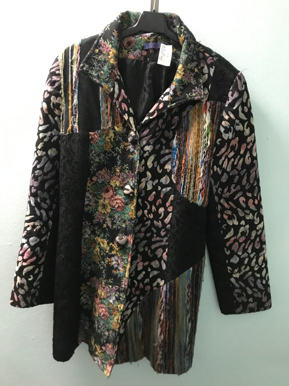 Joe Browns size 14 coat black purple patchwork design