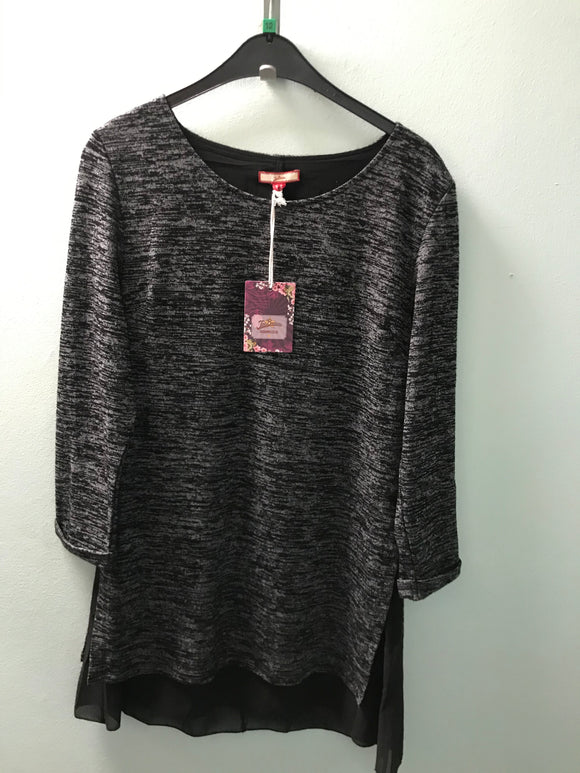 Joe Browns size 10 size 12 tunic top dress black with grey fleck layer NEW