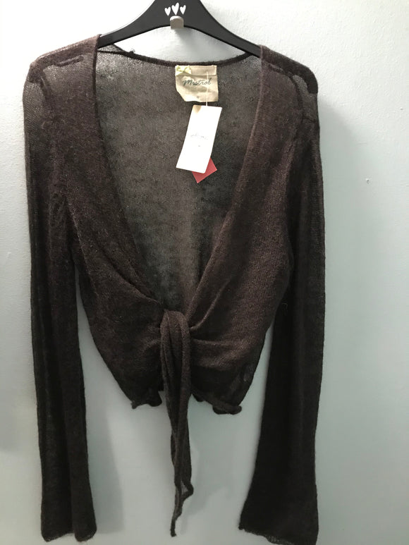 Mantaray size 16 cardigan brown mohair wool NEW