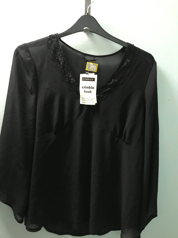 Maternity size 16 blouse top black sequin chiffon NEW