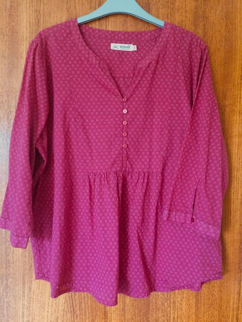 Seasalt size 16 blouse tunic top fuchsia pink