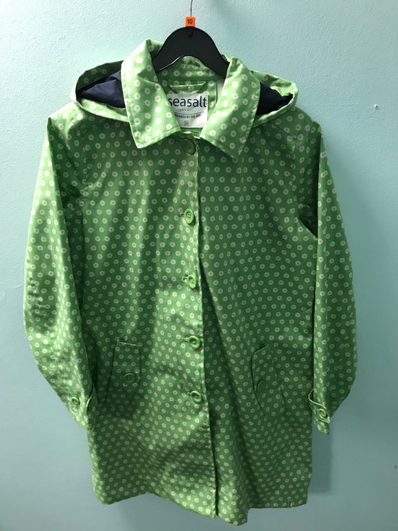 Seasalt size 10 rain coat jacket lime green with flowers