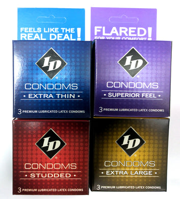 ID Condoms - Case of 72 - 3 Packs - Assorted Styles ID-CAS-03