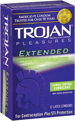 Trojan Pleasures Extended Lubricated Condoms - 12 Pack Tj97250 TJ97252