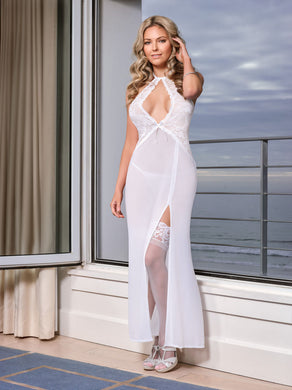 Pure Bliss Keyhole Gown & G-String Set - Large / Extra Large - White MS-B562WHT-LRG