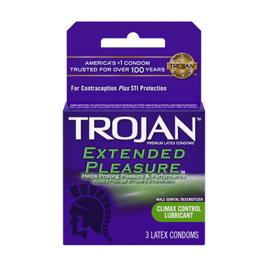 Trojan Extended Pleasure Lubricated Condoms - 3 Pack TJ01996