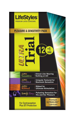 Lifestyles Ultra Trial 12 Condoms Plus 1 Vibrating Ring LS0941