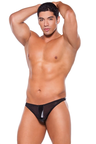 Wet Look Thong - One  Size - Black ALR-24-5602Z