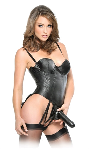 Fetish Fantasy Series Corset Strap on Set - Black PD3964-23