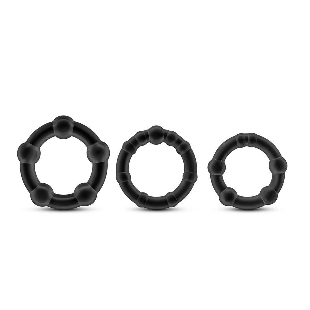 Stay Hard Beaded Cockrings - 3 Pack - Black BL-00015