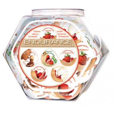 Endurance Lubricated Flavored Condoms - 144 Piece Fishbowl - Assorted HTP280D