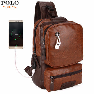 VICUNA POLO Anti-theft External USB Charge Messenger Bag Patchwork Men Crossbody Bag Large Capacity Casual Travel Man Bag Hot-Backpack-smartbackpac