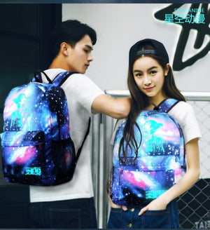 Night Star Luminous Backpack Multifunction Unisex Cartoon School Bags travel Bag Student Rucksack with USB Charger backpack-Backpack-smartbackpac