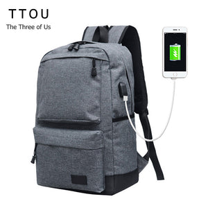 TTOU Women Backpack with USB Charging Port Casual Canvas Travel Backpack Teenagers Student School Bags Simple Laptop Backpack-Backpack-smartbackpac