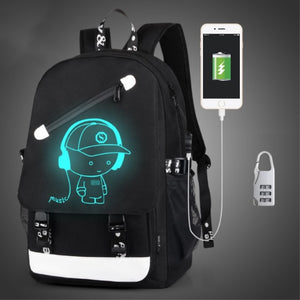 Anti Theft backpack USB charging teen Laptop Backpacks For Teenagers Female Mochila Travel backpack School bags Luminous Backpack-Backpack-smartbackpac