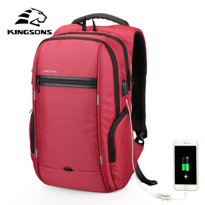 Kingsons Anti-theft Waterproof Men Women Backpack Bag 13.3,15.6,17.3 inch Laptop Computer Backpack External USB Charge 15 17-Backpack-smartbackpac