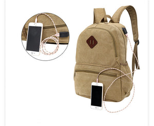2018 New Canvas Backpack Anti-theft College Students School Backpack USB Charging Design Bags for Teenager Travel Backpack-Backpack-smartbackpac