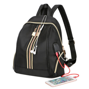 Small Waterproof Nylon Women Backpack Fashion Shoulder Back Bag USB Charging School Backpacks for Teenage Girls Travel Bags-Backpack-smartbackpac