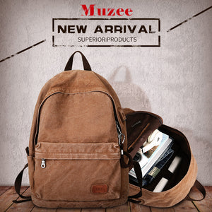 Muzee Retro Men USB Design Backpack Casual Canvas Bag Fashion Backpack Student bag Male Laptop Backpack Travel bag-Backpack-smartbackpac