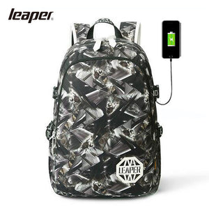 LEAPRE Men Backpack USB Charging Laptop Camouflage Printing Backpack Student Backpack School Bags For Teenagers College Bag-Backpack-smartbackpac