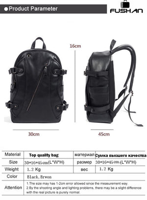FUSHAN Men Backpacks PU Leather Waterproof Bags 15.6 Inch Laptop Backpack External USB Charge Computer Bag Mochila Feminina-Backpack-smartbackpac