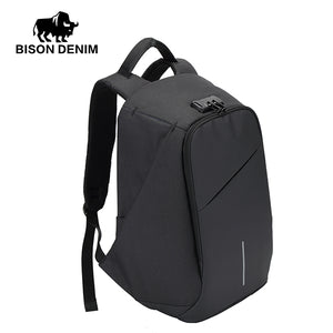 BISON DENIM USB Charge Anti Thief Backpack Men Leisure Travel backpack School Bags Teenager Male 15 inch Laptop Backpack N2714-Backpack-smartbackpac