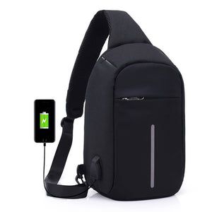 Anti-theft Sling Shoulder Bag with External USB Charge Crossbody Chest Bags Backpack for Cycling Hiking Outdoor Travel Men Women Casual Reflective Stripe Black-Backpack-smartbackpac