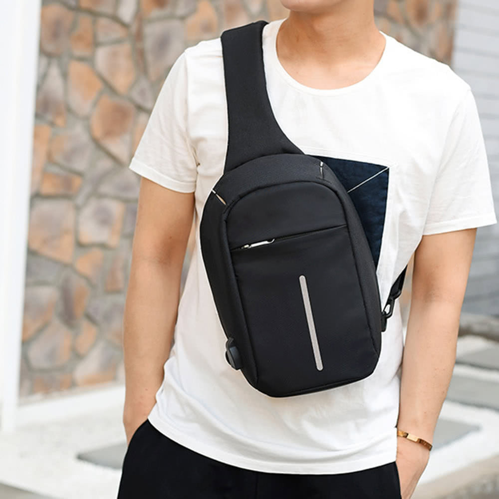 0b755ac7c42e Anti-theft Sling Shoulder Bag with External USB Charge Crossbody Chest Bags  Backpack for Cycling Hiking Outdoor Travel Men Women Casual Reflective ...