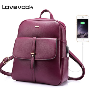 LOVEBOOK backpack female schoolbag for girls teenagers large women backpack with anti theft external USB ladies bags 2018-Backpack-smartbackpac