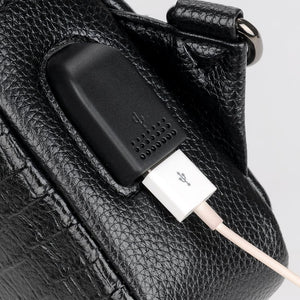 New Fashion Men Messenger Bags Leather Chest Pack USB charging Casual Men's Travel Shoulder Bags Crocodile pattern Crossbody Bag-Backpack-smartbackpac