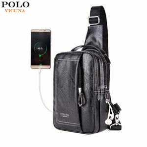 VICUNA POLO Double Pocket USB Charging PU Leather Men Messenger Bag With Headphone Outlet Crossbody Bag Casual Chest Sling Bags-Backpack-smartbackpac