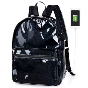 TZY 2018 Fashion Silver Hologram Laser Backpack USB Charging Women School Bag Girl PU Leather Holographic Backpack Multicolor-Backpack-smartbackpac