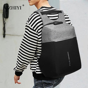 Men Canvas Laptop Rucksacks Backpacks Anti Thief USB Charging Student School Bag Men Travel Pack Casual Shoulder Bag-Backpack-smartbackpac