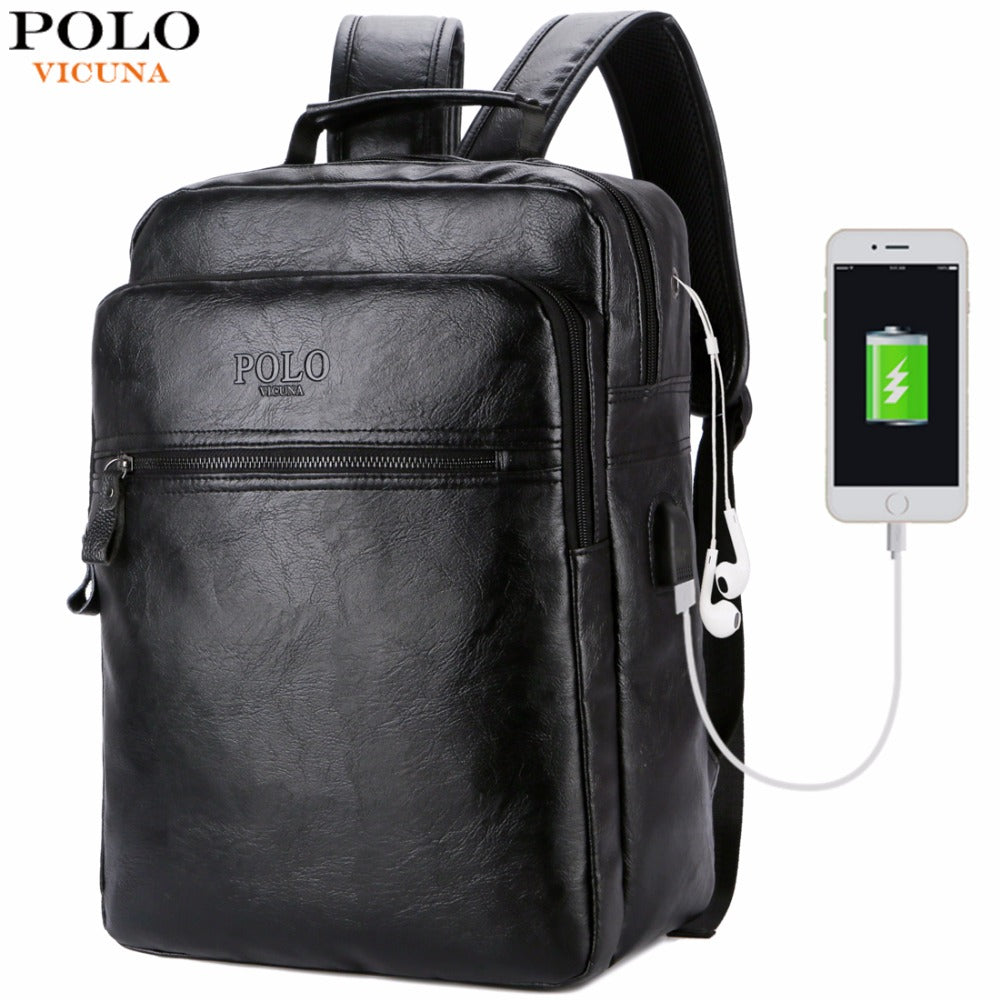 71658bcb45 VICUNA POLO Men Leather USB Cable Travel Laptop Backpack With Headphone  Hole School Backpack Has Front