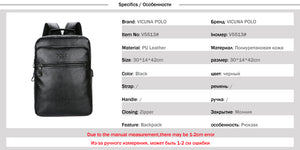 VICUNA POLO Men Leather USB Cable Travel Laptop Backpack With Headphone Hole School Backpack Has Front Pocket Bagpack mochila-Backpack-smartbackpac