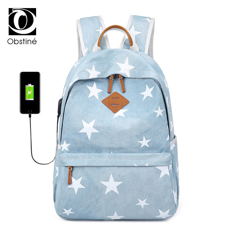 Large Capacity Womens Backpacks USB Charging Laptop Backpack Canvas Daypack  School Bags for Teenagers Girls Travel c42baf465d635