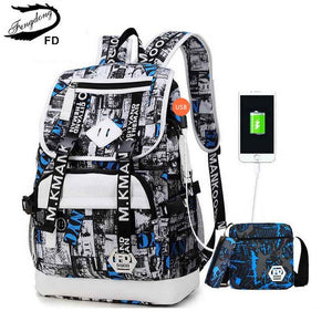 male USB Backpack black one shoulder bag pencil case men school bag set waterproof oxford fabric travel bags bookbag-Backpack-smartbackpac