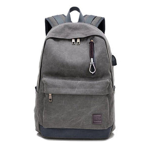 Men Women Laptop Backpack Canvas Travel USB Charge Computer Anti-theft Shoulder Bag Casual Rucksack-Backpack-smartbackpac
