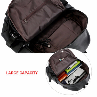 53fd4a1101b7 VICUNA POLO Man Leather Casual Brand USB Interface Backpack Bag With  Headphone Hole Mens School Travel rucksack Laptop Backpack
